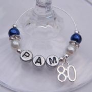80th Birthday Personalised Wine Glass Charm - Elegance Style